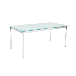 "67""w - 95.5""w x 35.5""d Frosted Glass Multi-Purpose Table TBL009870"