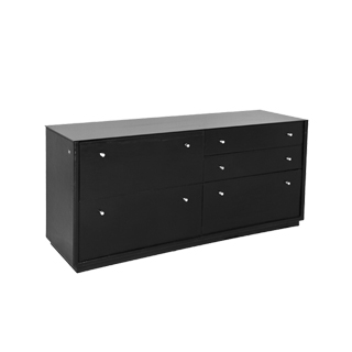 "66""w x 20""d Black Leather Storage Credenza CRD003938"