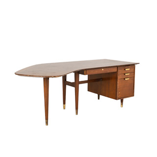 "83""w x 34""d Antique Walnut Boomerang Desk DSK000769"