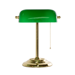 "13.5""h Brass Banker's Table Lamp LGT009228"
