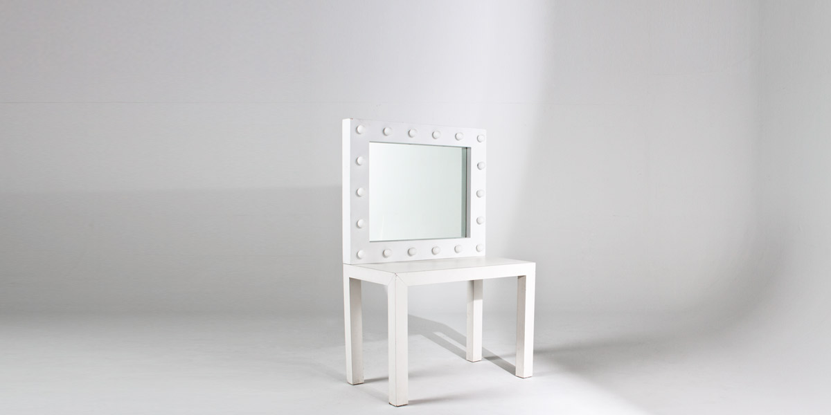 "40""w x 34""h White Laminate Make-Up Mirror MIR001774"