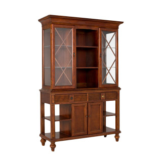 "52.25""w x 77""h Medium Cherry Buffet + Hutch MIS005910"