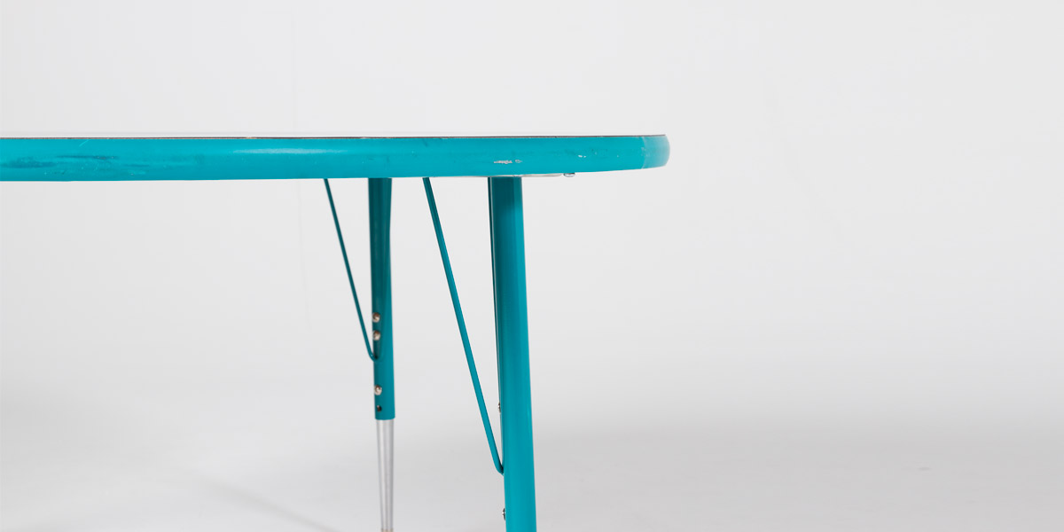 """48""""dia Teal Round Children's Work Table TBL013117"""