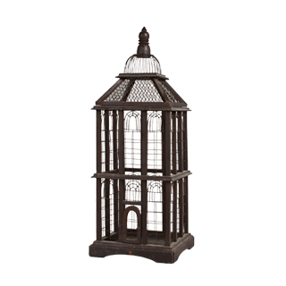 "42""h Brown Wood Bird Cage ACC001710"