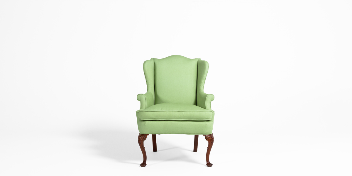 Light Green Fabric Wing Chair CHR000733