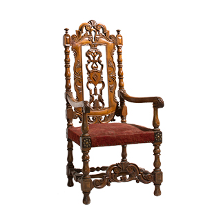 Walnut Medium Gothic Throne Chair CHR000895