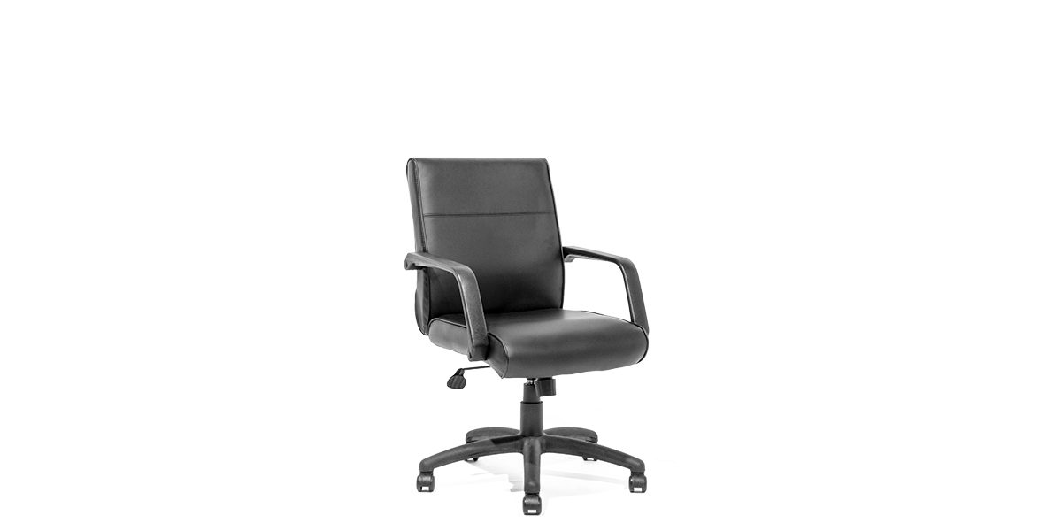Black Leather Mid Back Office Chair Chr011977 Arenson