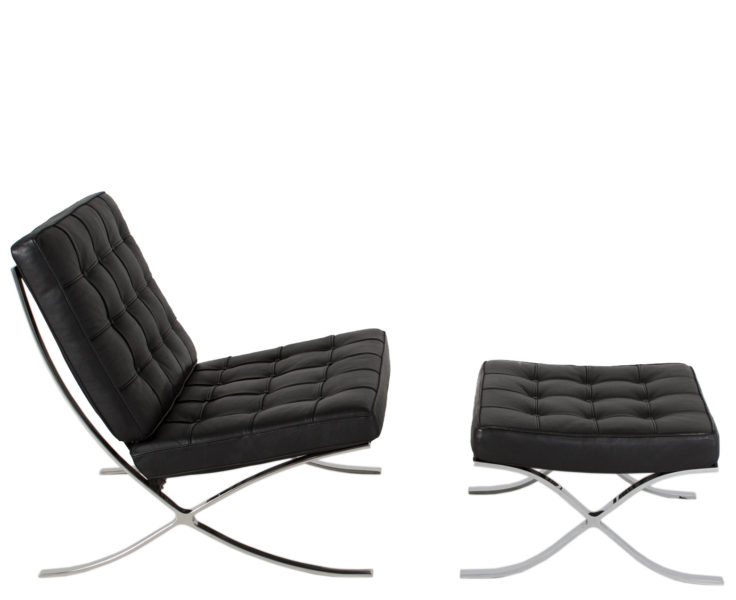 Black Leather Barcelona Lounge Chair CHR013135