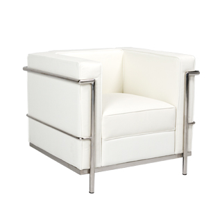 White Leather Corbusier Style Club Chair CHR014439