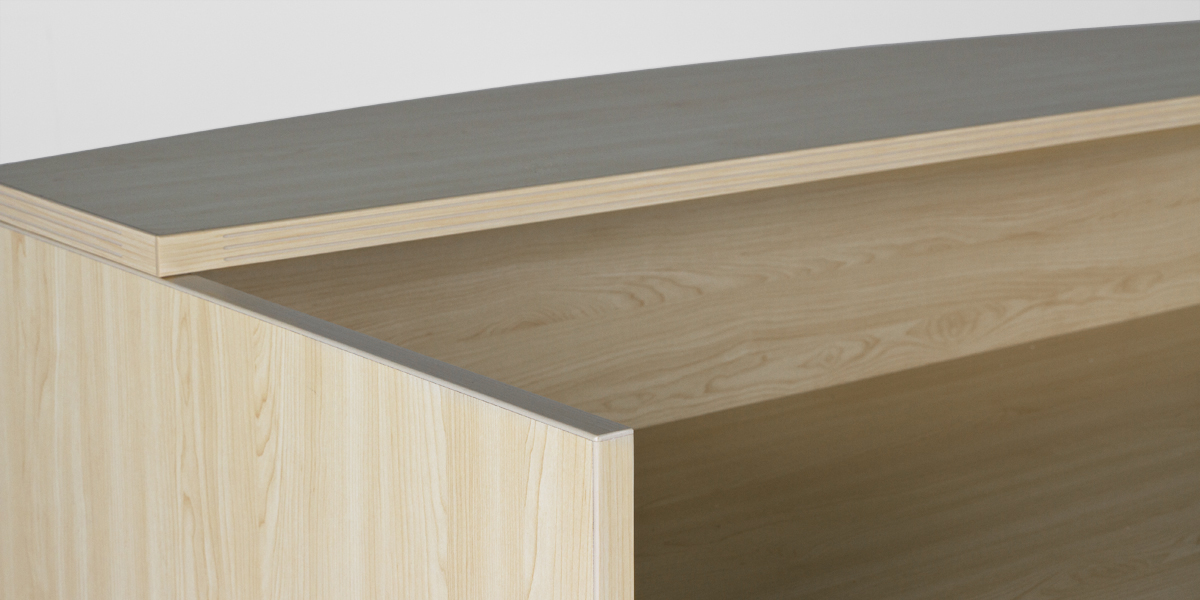 "71""w x 35.75""d Maple Laminate Reception Desk DSK013202"