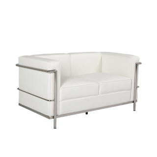 "51""w x 27.5""d White Leather Corbusier Style Loveseat LVS013248"