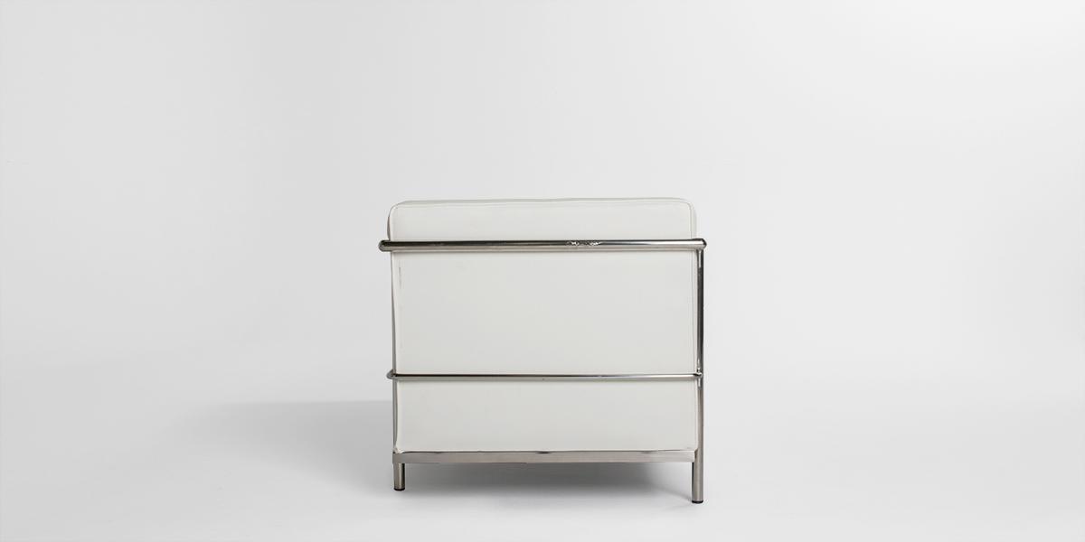 "51""w x 27.5""d White Leather Corbusier Style Loveseat LVS013248"