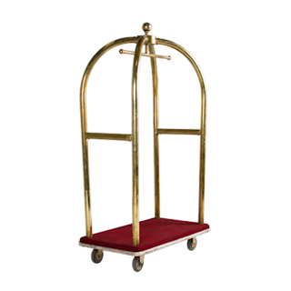 "42""w x 72""h Brass Bellman Cart MIS002057"