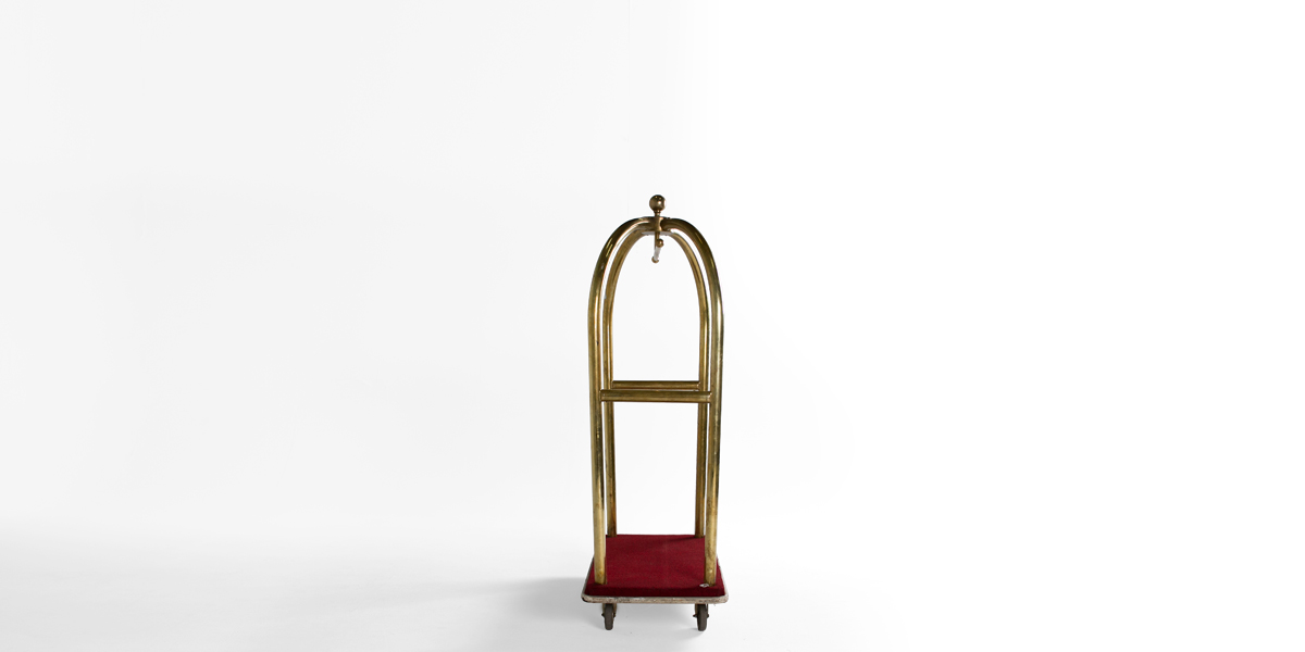 """42""""w x 72""""h Brass Bellman Cart MIS002057"""