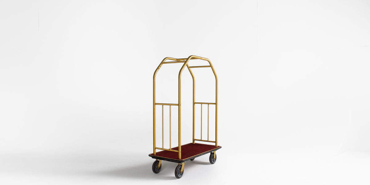 """50""""w x 69""""h Brass Bellman Cart MIS006884"""