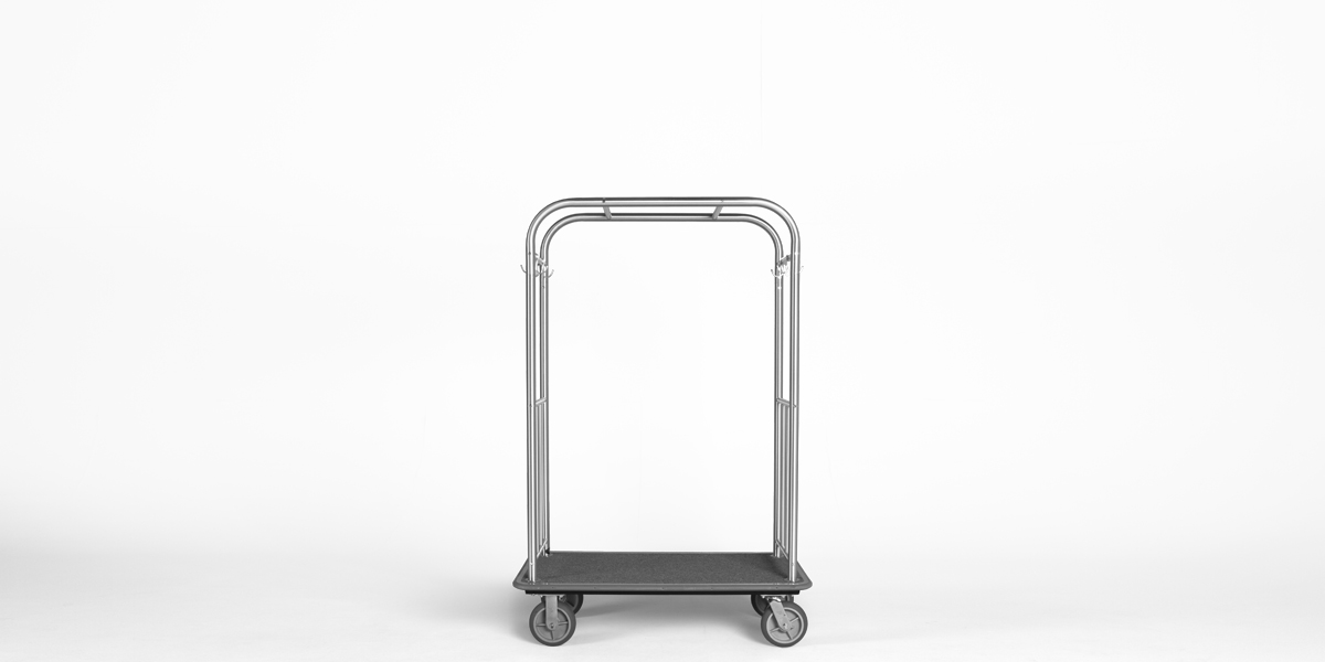"44""w x 74.5""h Brushed Chrome Bellman Cart MIS013047"