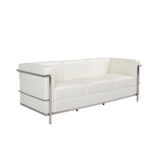 "71""w x 27.5""d White Leather Corbusier Style Sofa SOF014437"