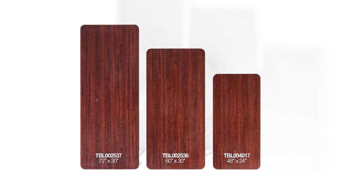 48″w x 24″d Walnut Folding Table TBL004017