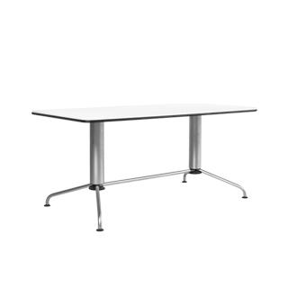 """63""""w x 31.5""""d Satin Chrome Table Desk TBL005430"""