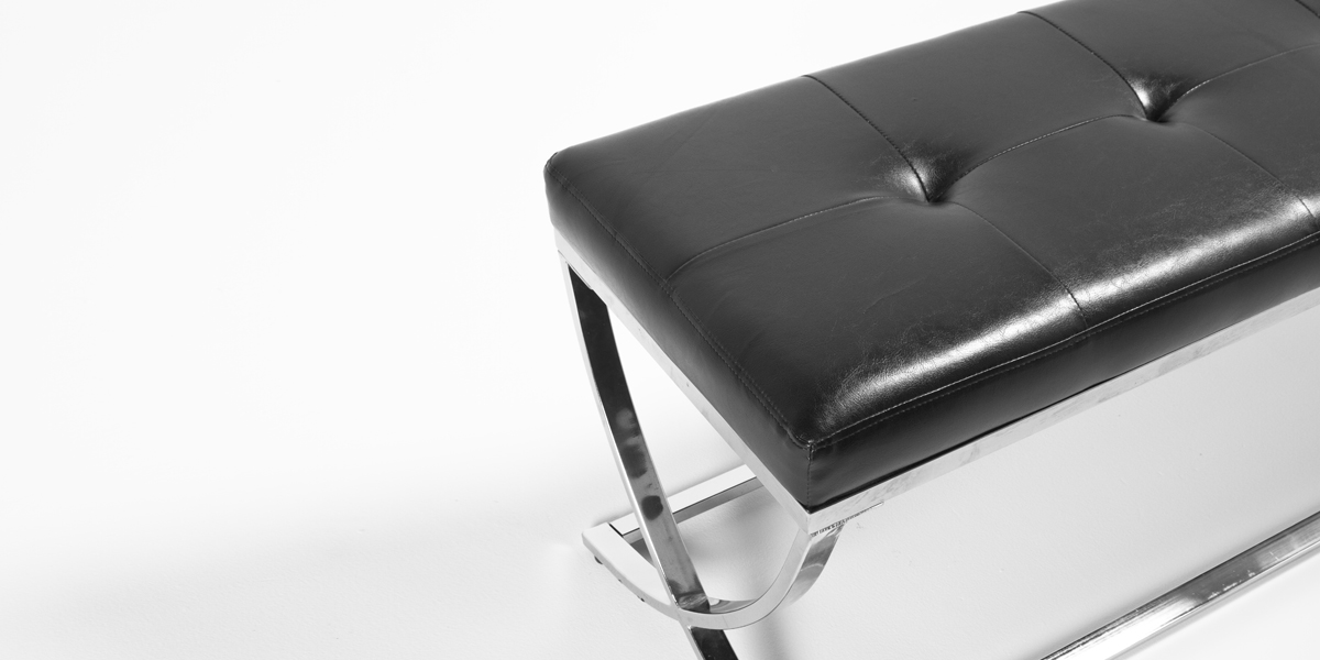 "48""w x 16""d Black Leather Bench BEN013235"