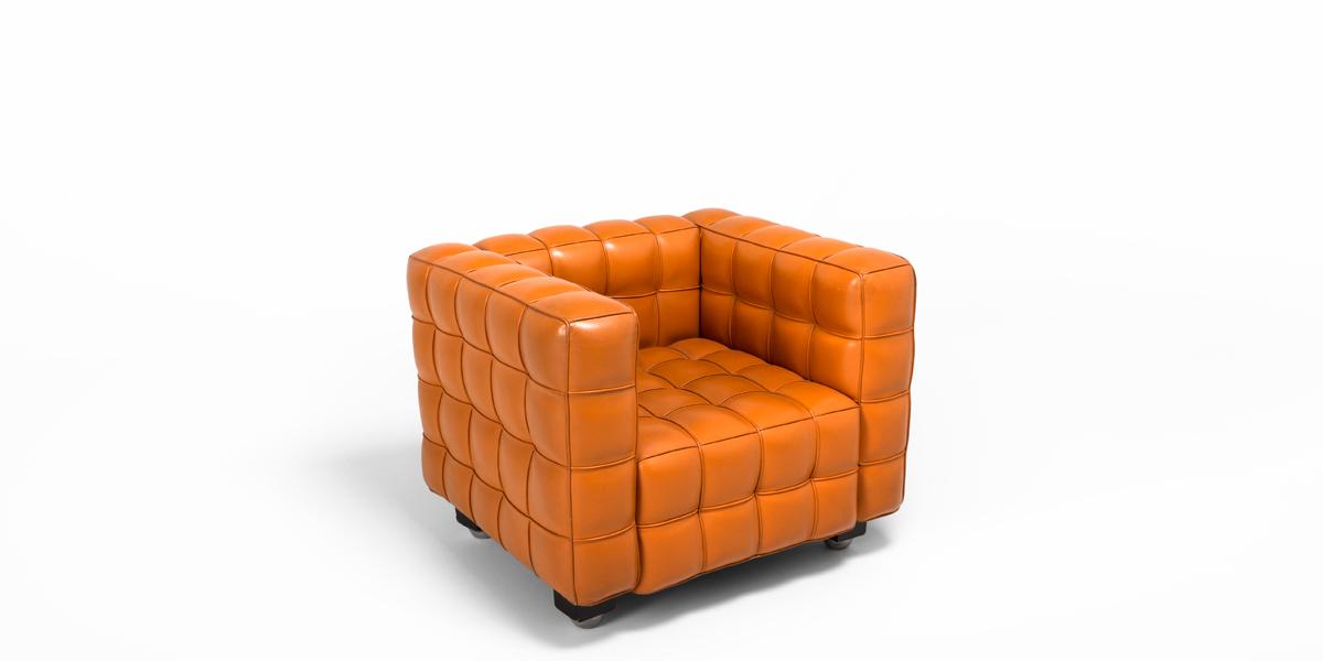 Orange Tufted Leather Club Chair CHR000388