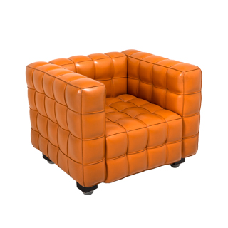 Orange Tufted Leather Club Chair CHR000388