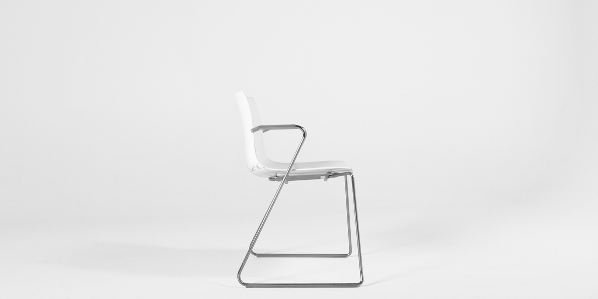 White Leather Sled Guest Chair CHR010355