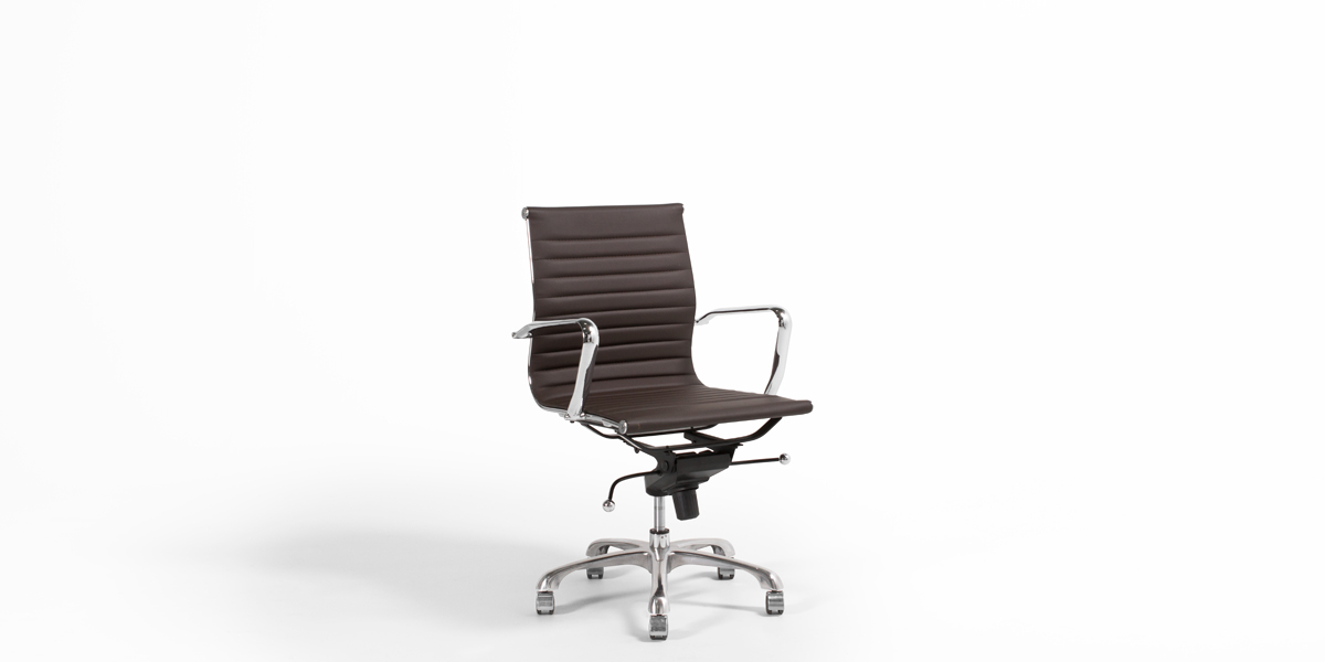 Dark Brown Leather Eames Mid-Back Office Chair CHR013031