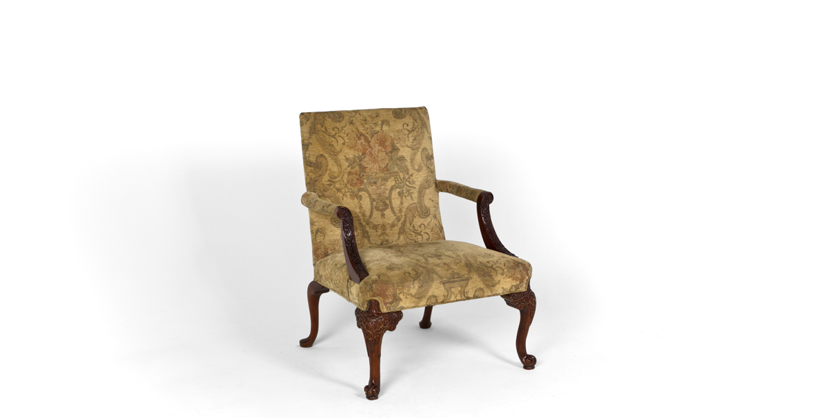 Olive Green Floral Guest Chair CHR013280