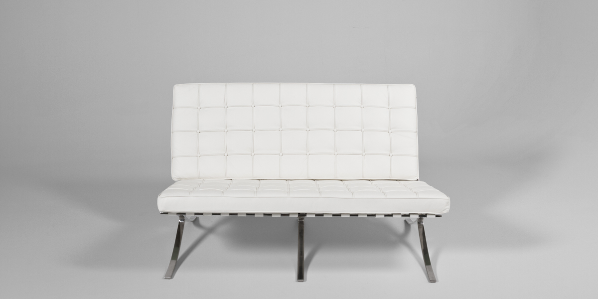 "59""w x 30""d White Leather Barcelona Loveseat LVS013346"