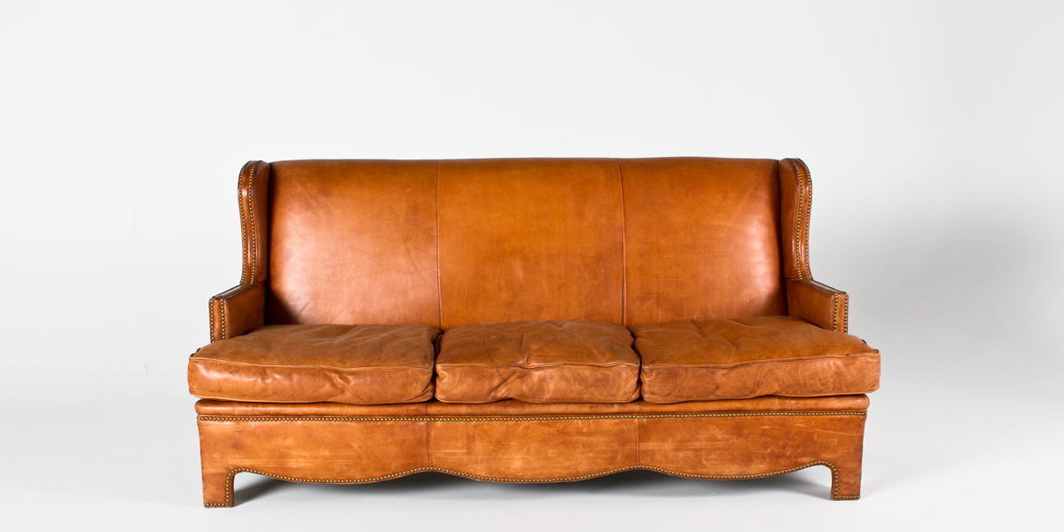 "77.5""w x 38""d Tan Leather Sofa SOF002181"