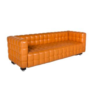 "87""w x 32""d Orange Tufted Leather Sofa SOF002230"