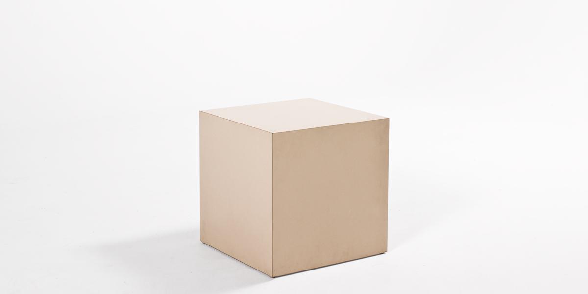 "18""w x 18""d Beige Laminate Cube Side Table TBL013342"