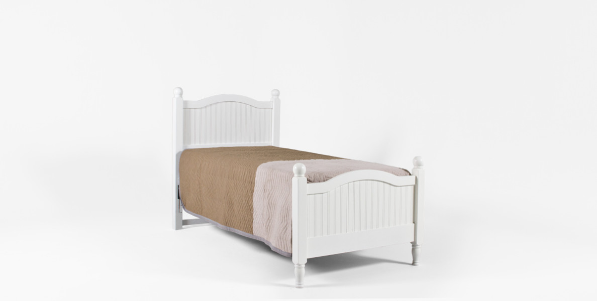 "41.5""w x 81.5""d White Twin Size Cottage Bed BED013307"