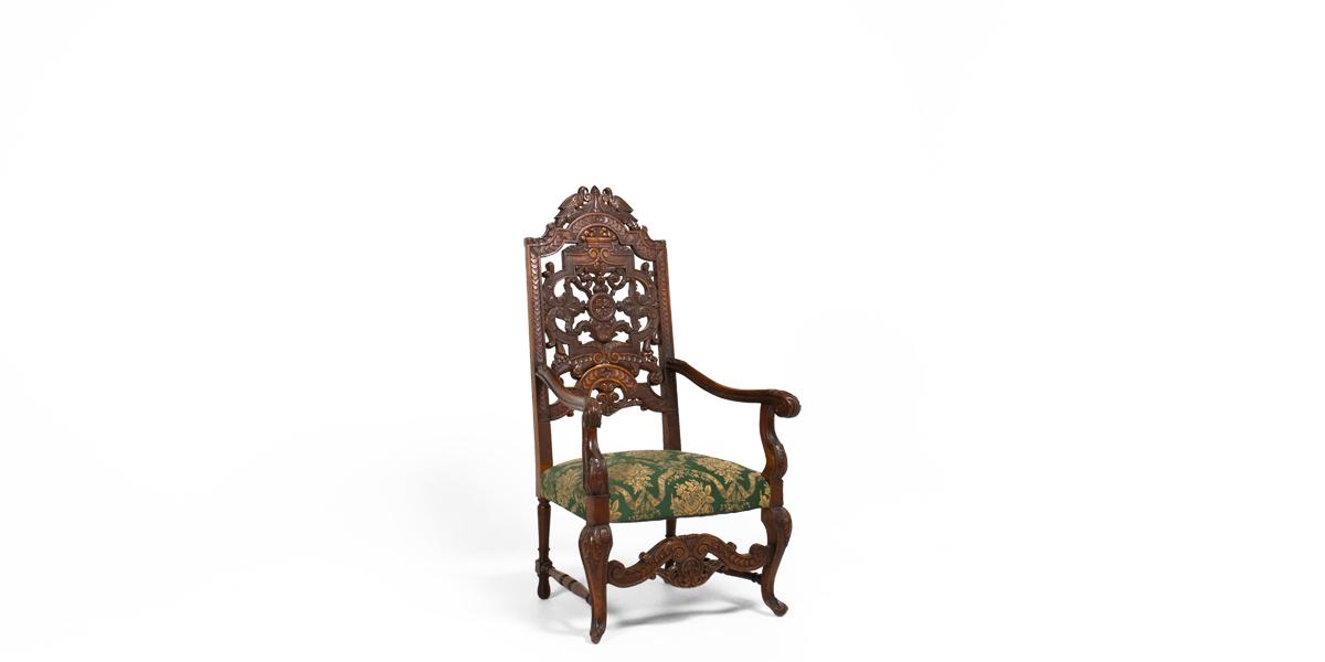 Dark Mahogany Large Renaissance Throne Chair CHR000848