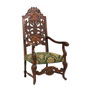 Dark Mahogany Large Renaissance Throne Chair CHR000848