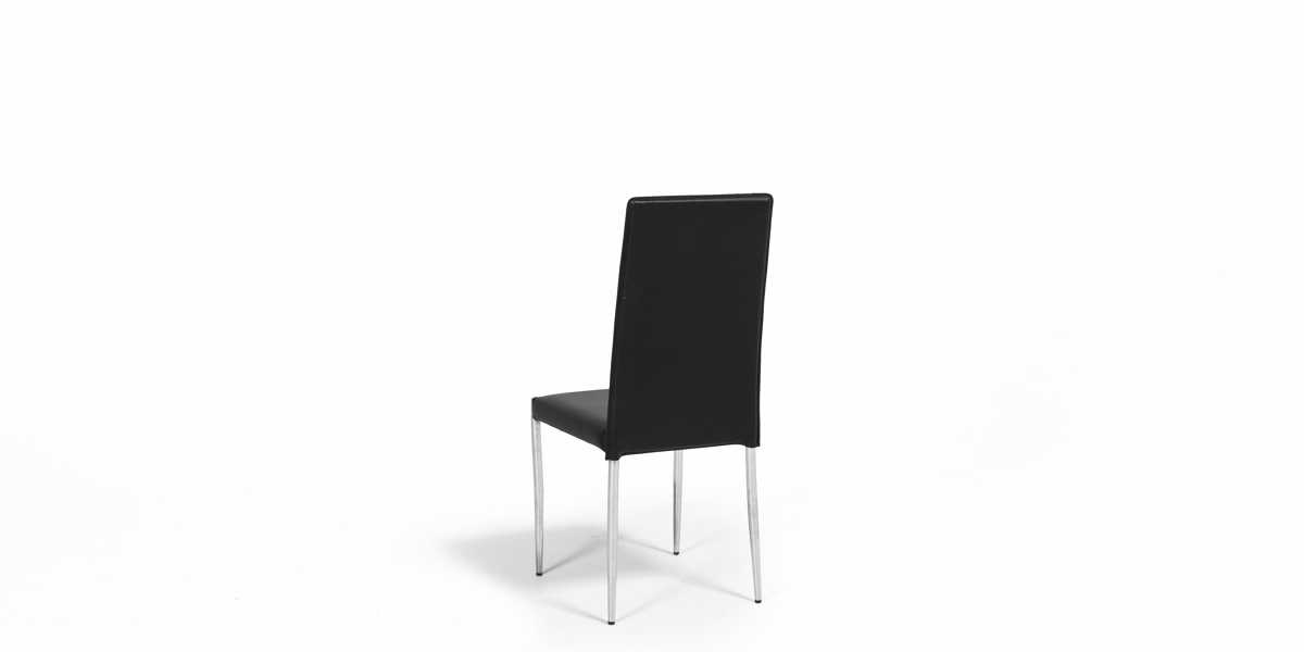 Wrapped Black Leather Side Chair CHR008884