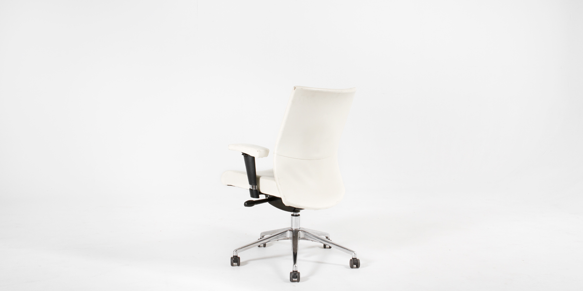 Ivory Leather Mid-Back Office Chair CHR009305