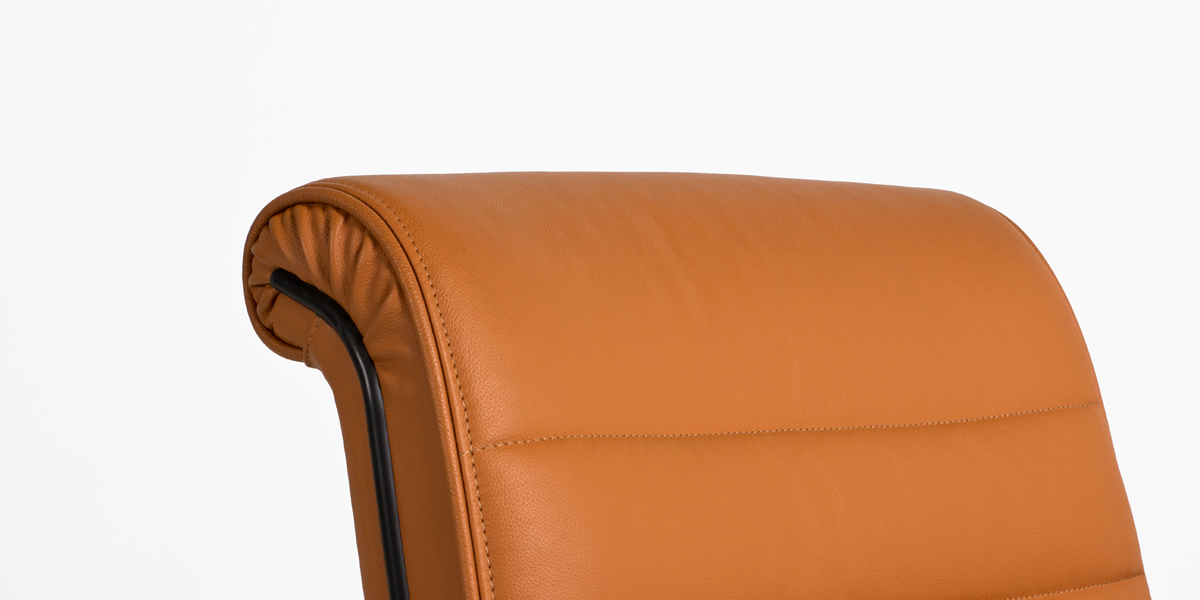 Saddle Brown Leather Sapper Mid-Back Chair CHR010378