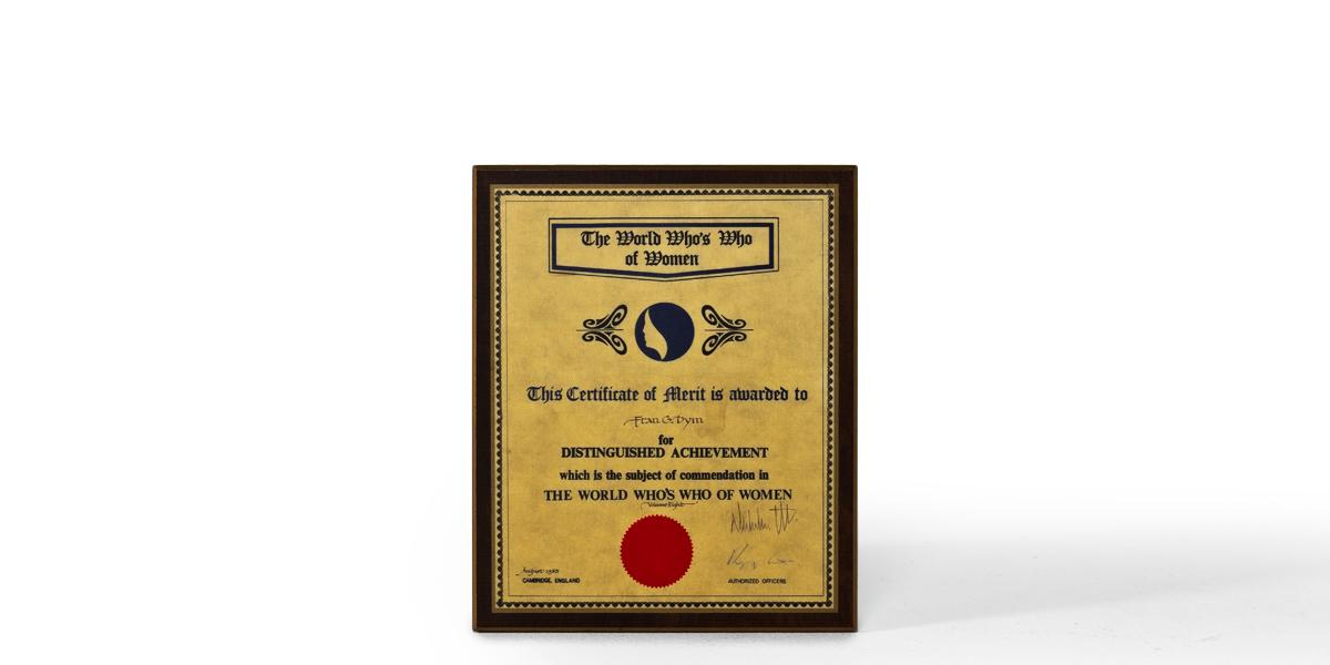 """10.25""""w x 12.5""""h Certificate ART005700"""