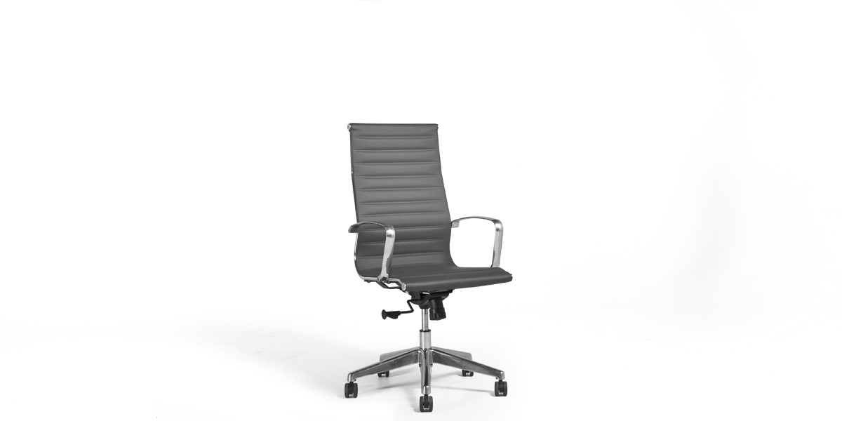 Charcoal Leather Eames Hi-Back Chair CHR012883