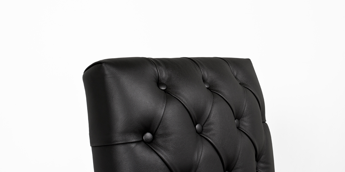 Black Vinyl Traditional Guest Chair CHR013390