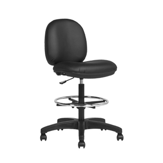 Black Faux Leather Drafting Chair CHR013448