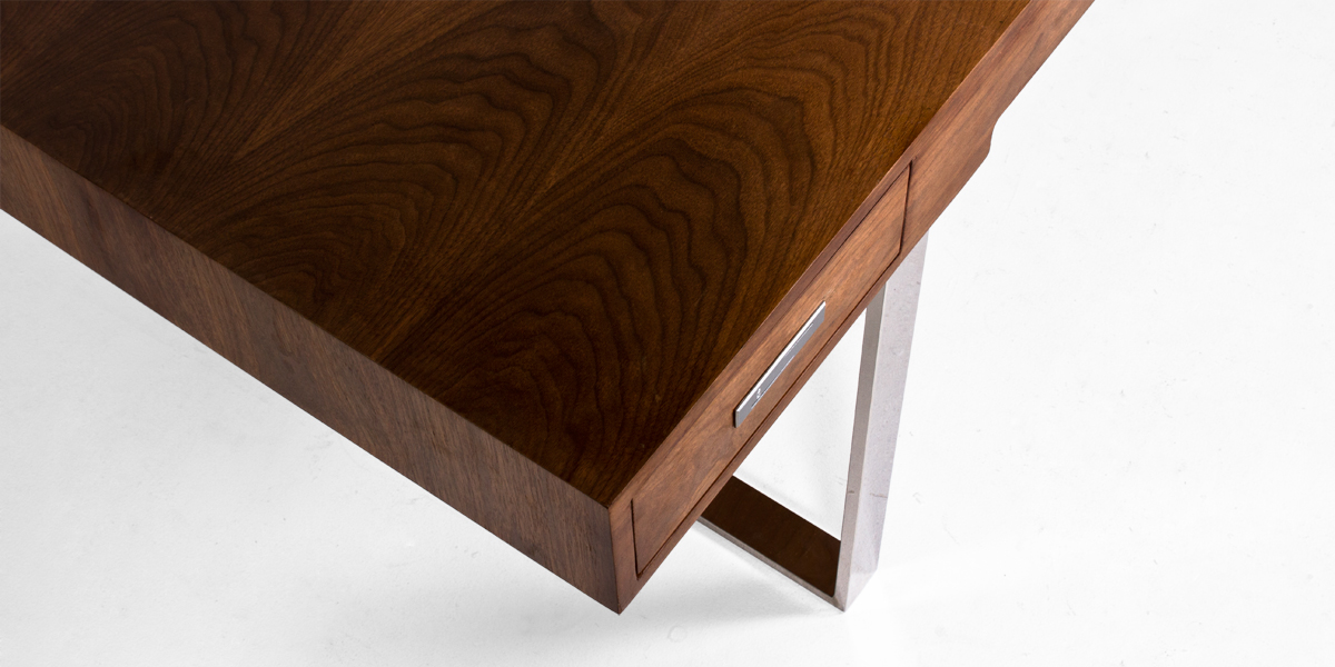 "74.75""w x 37.5""d Walnut Modern Desk DSK013378"