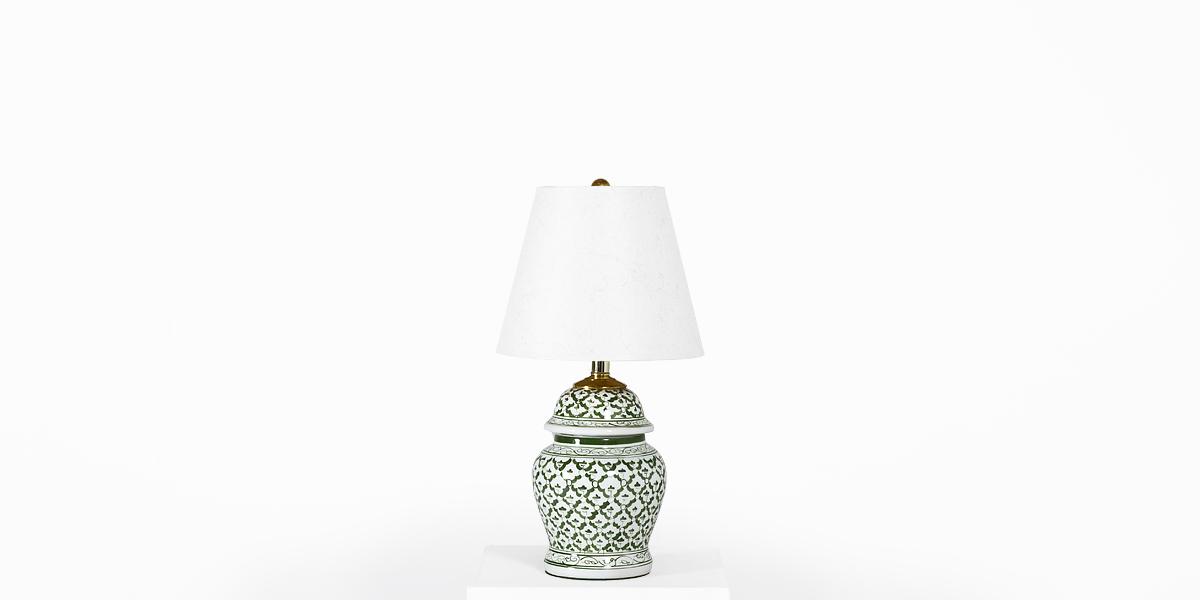 "19""h Green + White Ceramic Table Lamp LGT001686"