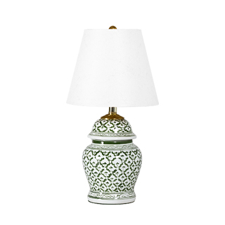 "19""h Green + White Ceramic Table Lamp LGT001686"
