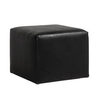 "20""w x 20""d Black Leather Ottoman MIS004202"