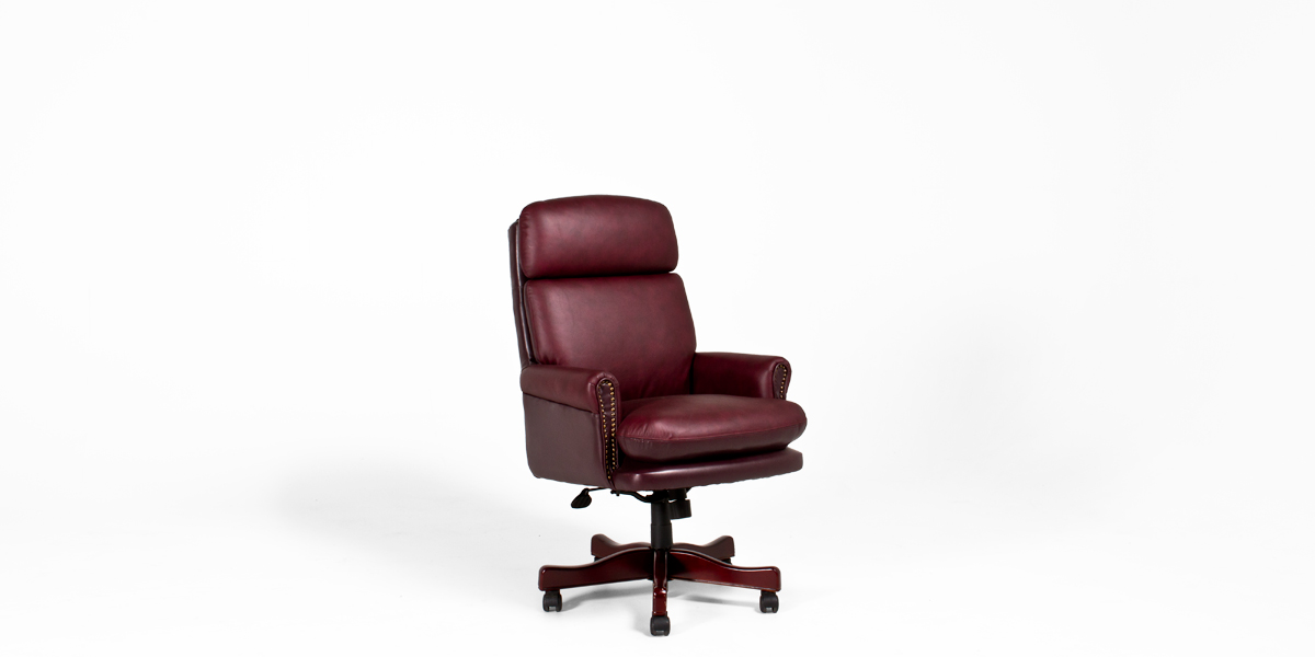 Burgundy Leather Executive Hi-Back Office Chair TRD011064