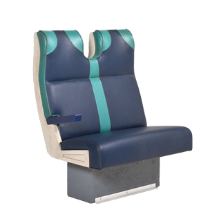 "37""w x 32""d Blue Vinyl Train Tandem Seating BEN013478"