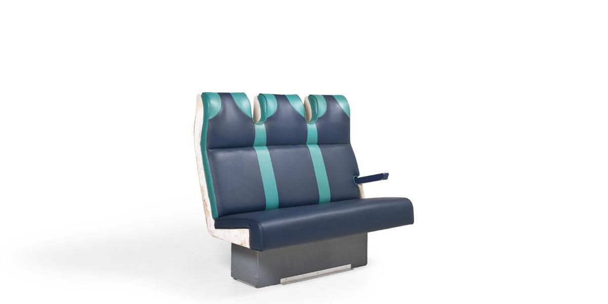 "52""w x 32""d Blue Vinyl Train Tandem Seating BEN013479"